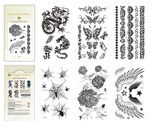 Supperb® 6-Pack Halloween B&W Spider Dragon Angel Wings Rose Tribal Butterflies Tattoos Temporary -