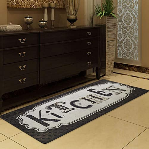 Satbuy Kitchen Rug Runner Chef Standing Floor Mat,Easy Clean Antique Style Durable Black Rug Area Carpet