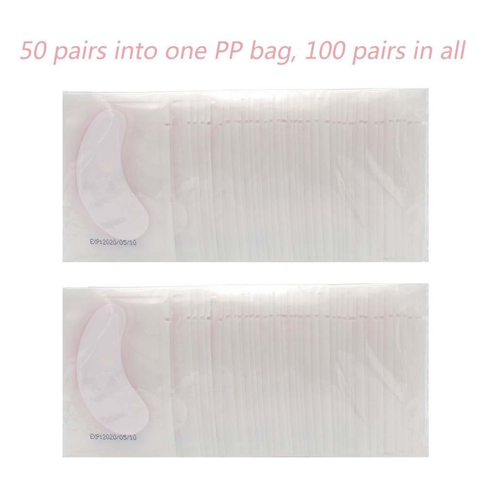 100 Pairs Eye Gel Patches Lint Free Under Eye Pads Eyelash Extensions Premium Eyes Mask Lash Extension Cosmetic Tool Kit, Clear/Pink by MyAoKuE-UP (Image #7)