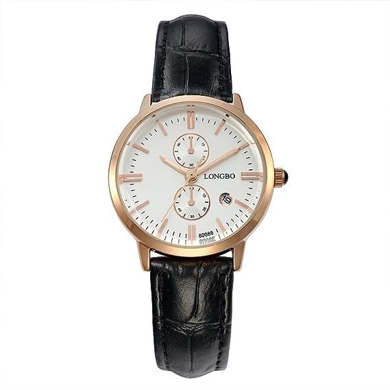 Longbo MUJER lujo negro cuero banda par reloj vestido de negocios Casual relojes esfera blanca oro