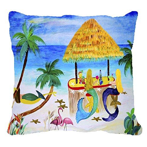 Mermaids Tiki Beach Wine Bar Indoor/outdoor Throw Pillow (24 x 24)