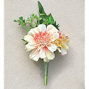 KUPARK Prom Party Wedding Artificial Flower Wedding Brooch Pin Boutonniere for Groom Groomsman Best Man 83
