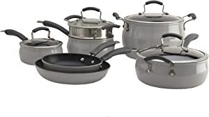 Epicurious Cookware Collection- Dishwasher Safe Oven Safe, Nonstick Aluminum 11 Piece Drizzle Grey Cookware Set