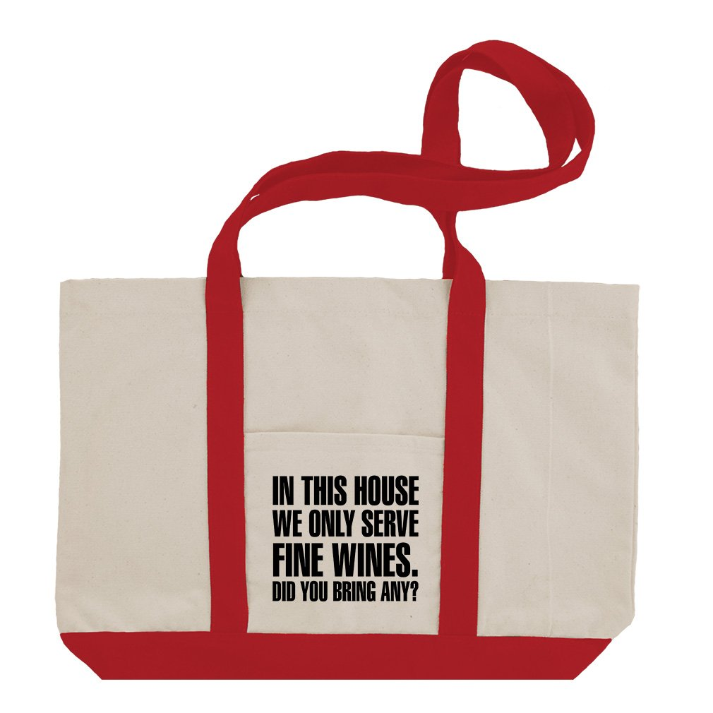 This House Fine Wines Did You Bring Any Cotton Canvas Boat Tote Bag Tote - Red