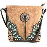 Justin West Autumn Fringe Cut Concho Rhinestone Concealed Carry Handbag Purse Matching Wallet (Tan Messenger Only)