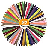 """YaHoGa 80pcs 14 Inch (35cm) Nylon Coil Zippers for Tailor Sewing Crafts Nylon Zippers Bulk 20 Colors (4pcs per color) (14"""" 80pcs)"""