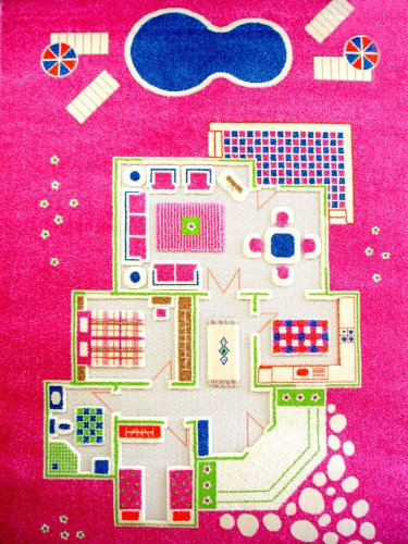 Little Helper IVI Exclusive Large & Thick 3D Childrens Play Mat & Rug in Colourful Playing House theme with 3 Dimensional Rooms & Swimming Pool, Pink (134 x 200cm)
