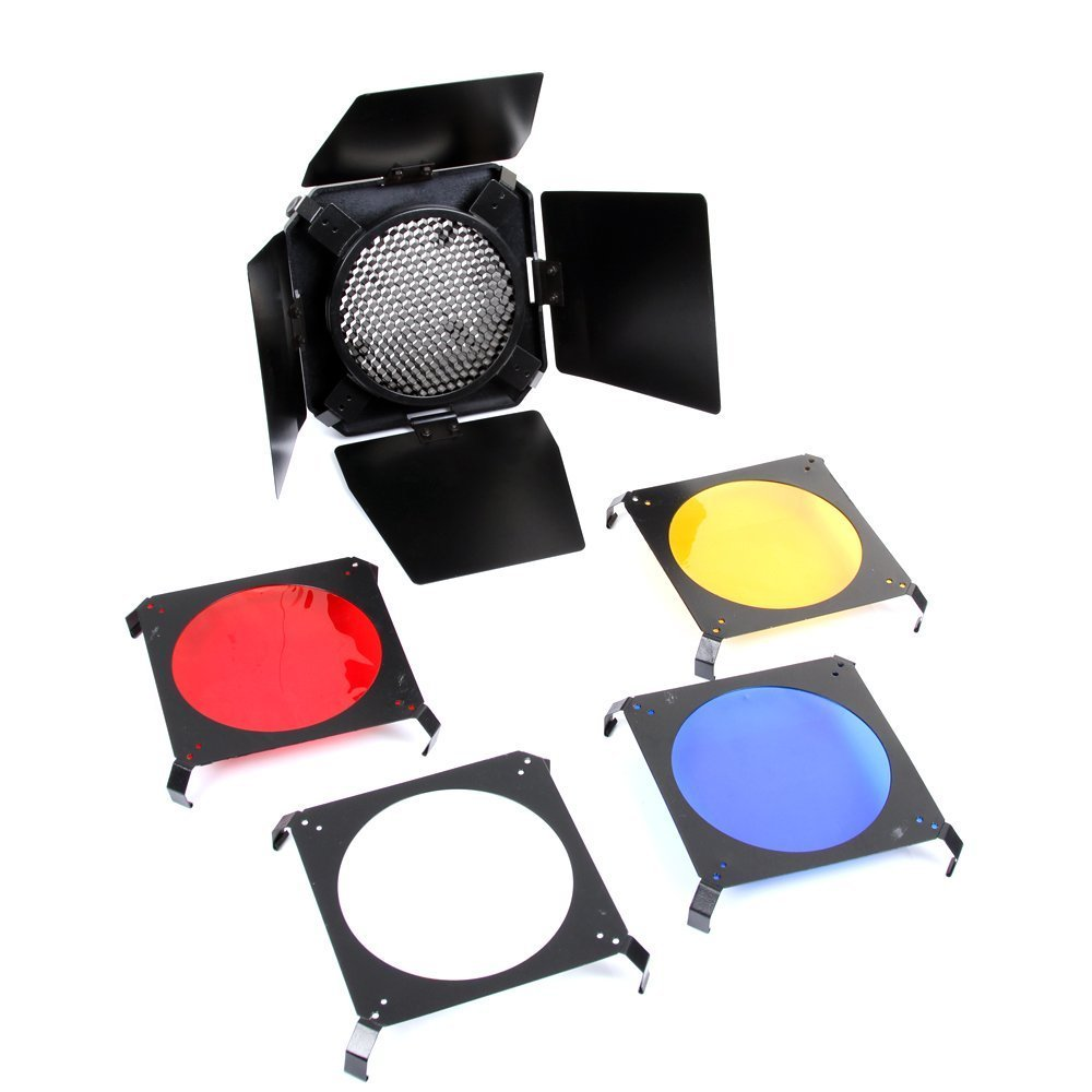 Foto4easy Universal Mount 3in1 Barn Door Honeycomb Grid & 4 Color Gel Filters Barndoor Kit