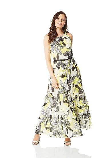 Roman Originals Ladies Monocrome Rose Print Dress Mauve