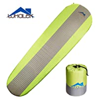 Whalek Self Inflating Sleeping Pad Lightweight Foam Padding and Superior Insulation Great For Hiking & Camping Thick Outer Skin Backpacking(Single & Double)