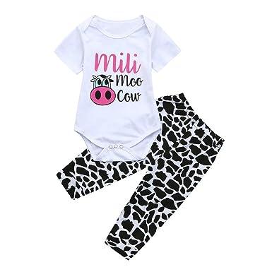 d098104df9709 Amazon.com: Pollyhb Baby Girls Summer Romper Clothes Set, 2pcs ...