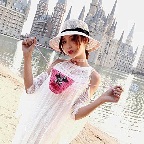 Summer Purse Straw Women Mini Everpert Pink Cherry Crossbody Woven Beach Shoulder Handbag 6nxxq0S