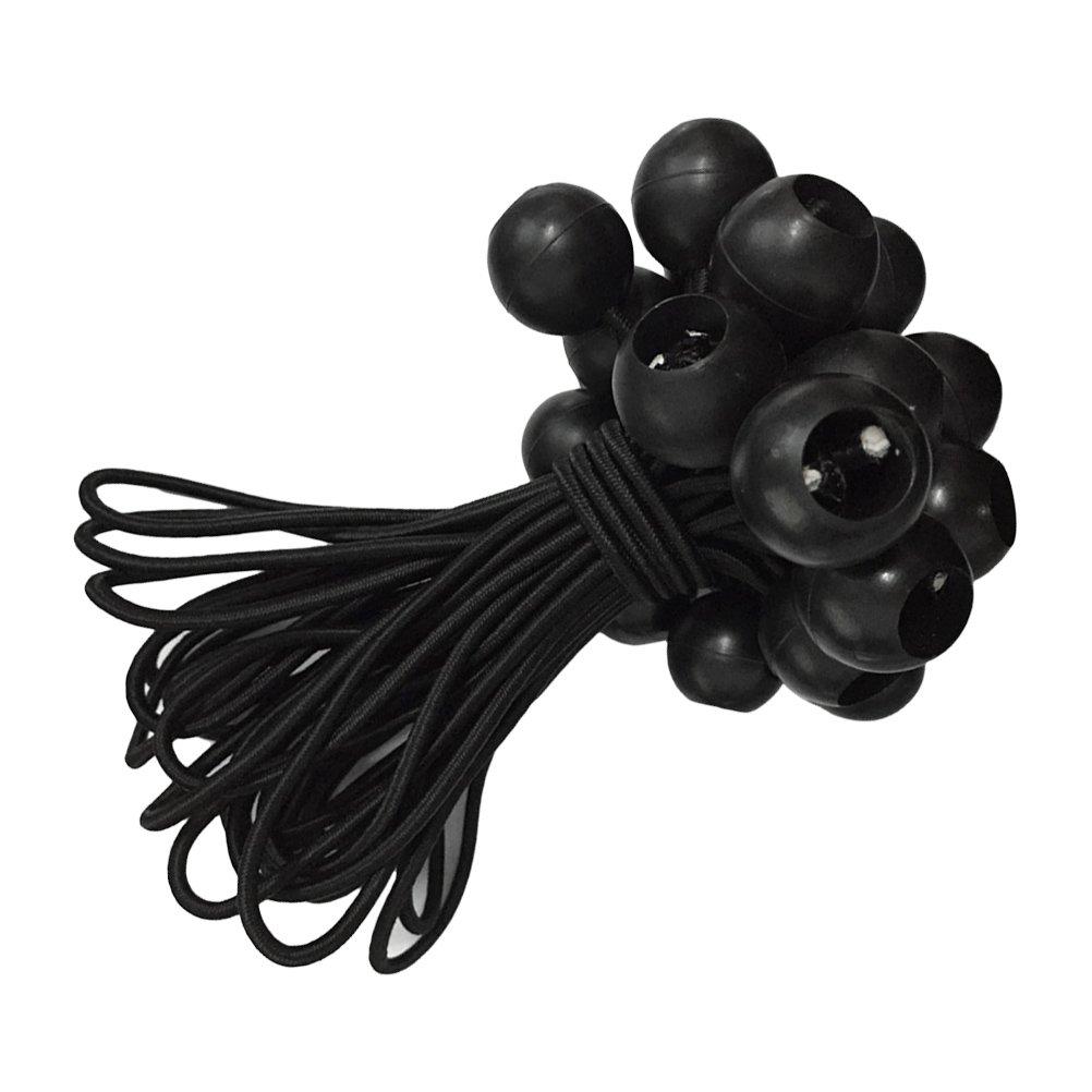 15/cm OUNONA 10pcs Black Ball Bungee Elastic Cord Tie pour bagages de la tente et autres accessoires de camping