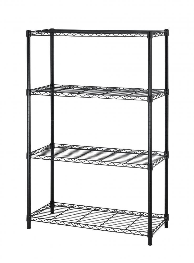 36''x14''x54'' Commercial 4 Tier Layer Adjustable Wire Shelving Metal Shelf Rack (Black)