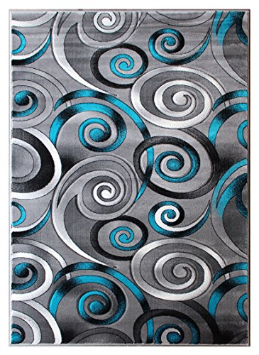 Masada Rugs, Turquoise Grey Modern Contemporary Woven Area Rug, Hand Carved (5 Feet X 7 Feet, Turquoise)