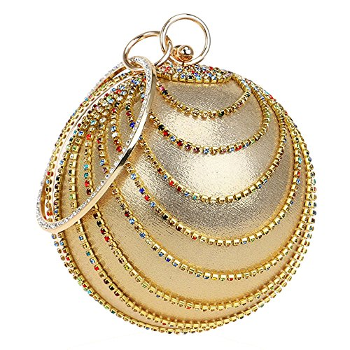 Party Gold Bag Women's Purse Clutch TOOKY Colorful Round Shape Evening Bling Handbag Wedding Rhinestones BnzqHUw