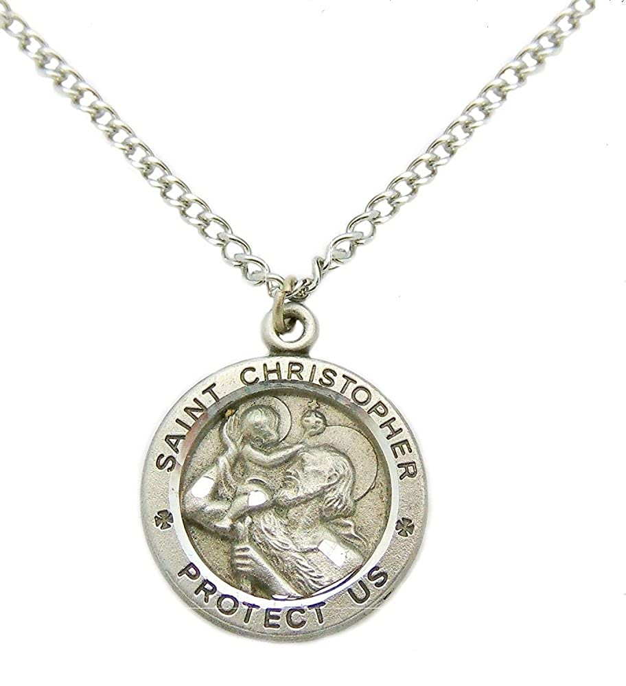 1613df8dff5f7 St Christopher Pewter Pendant Medal with 24 inch Stainless Steel Chain and  Gift Box