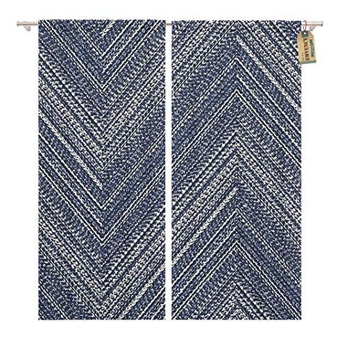 Golee Window Curtain Navy Abstract Washed Indigo Denim Bold Chevron Strokes Brushed Home Decor Rod Pocket Drapes 2 Panels Curtain 104 x 96 inches