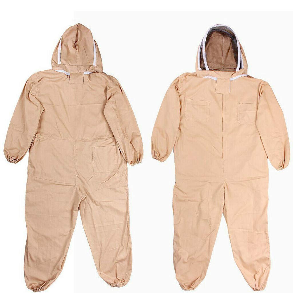 Dergo ☀Bee Keeping Suit Breathable Half Body Anti-Bee Clothes with Cap Beekeeping Protective Suit Tool (L2)