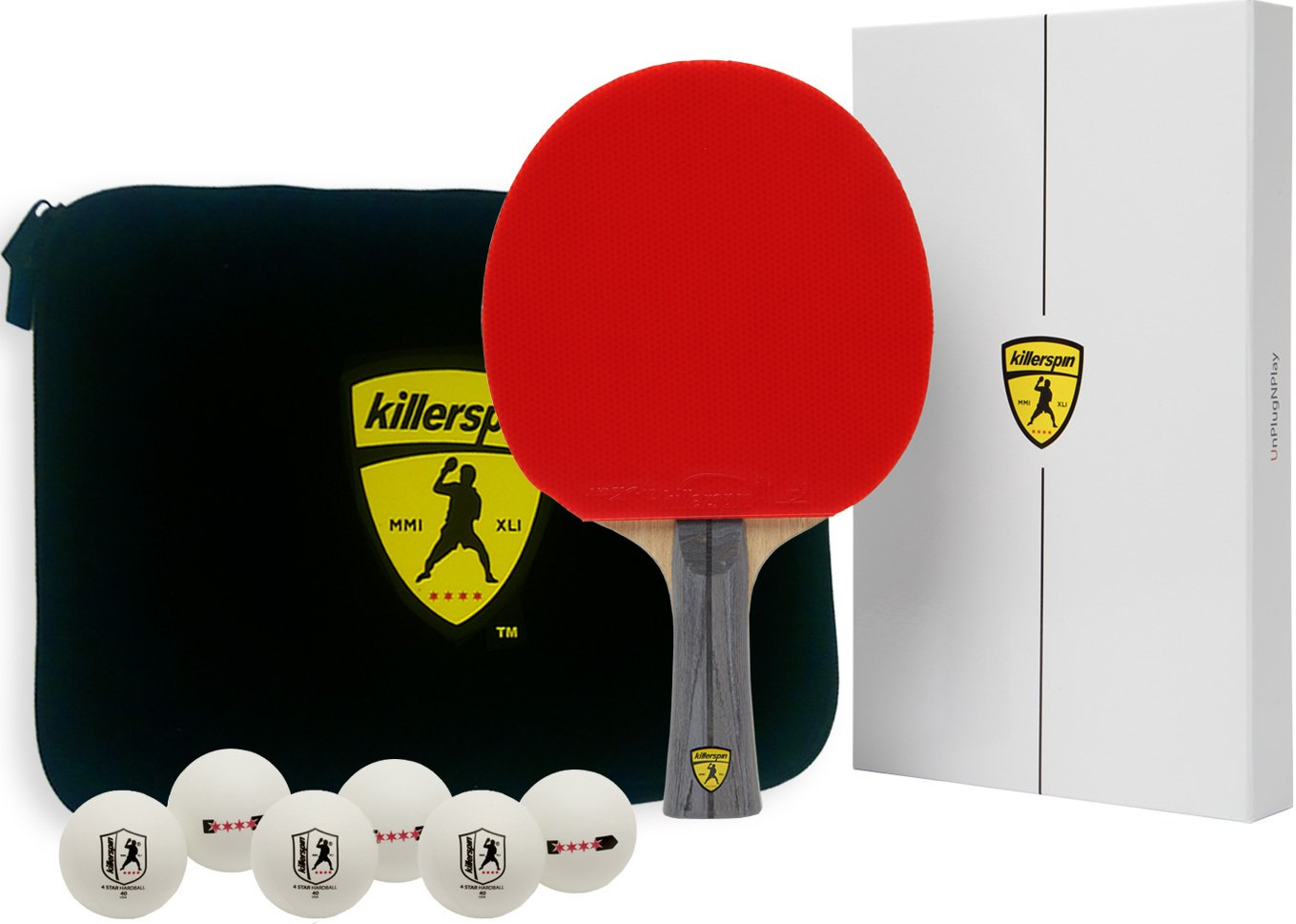 Killerspin Jet600 XL Combo: Table Tennis Paddles with Paddle Case and Six 4 star Balls