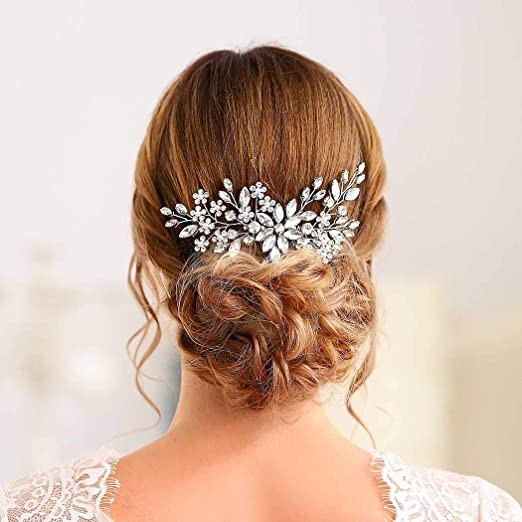 1PC Vintage Wedding Crystal Hair Comb Bridal Tiara Bride Hair Piece Accessorie5H