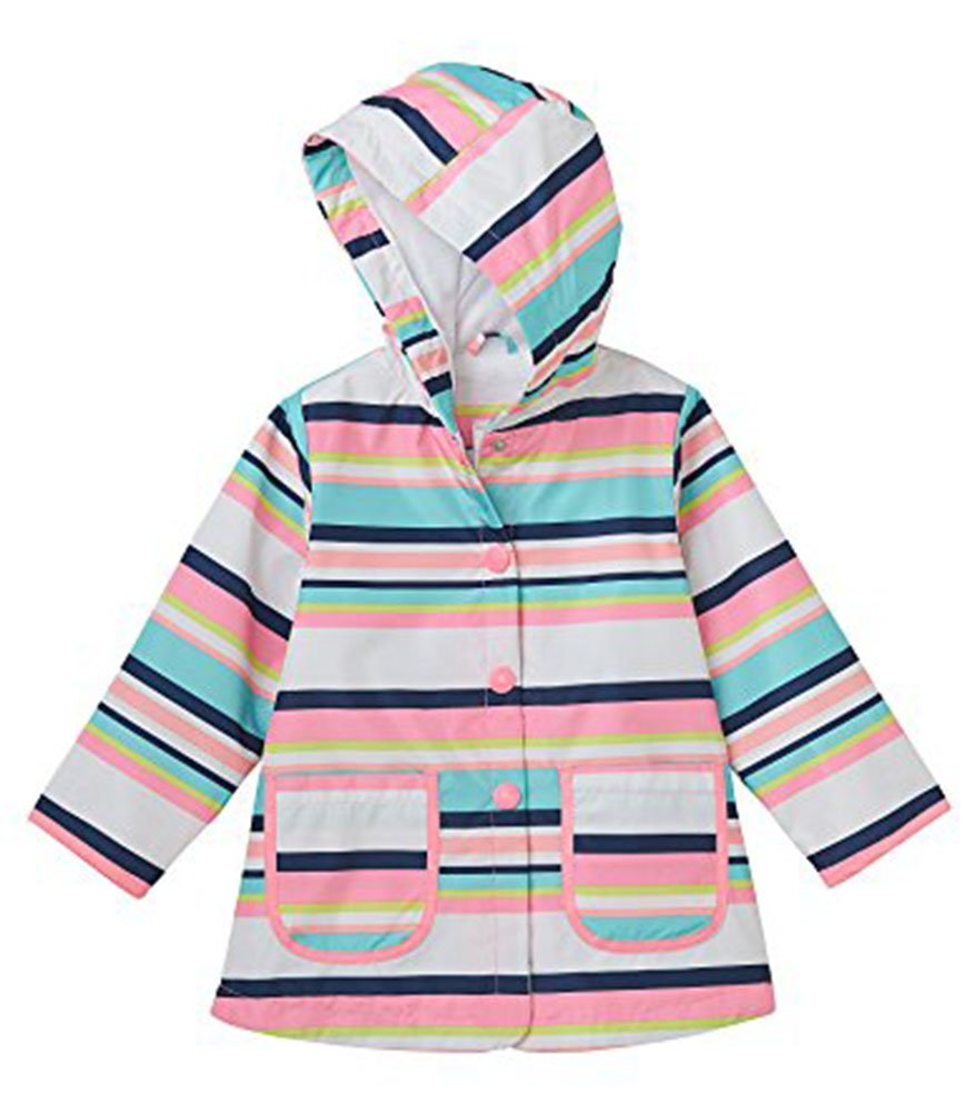 Carter's Big Girls' Her Rainslicker Rain Jacket (5-6, Stripe)
