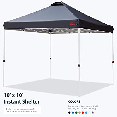 MASTERCANOPY Pop-up Canopy Tent Commercial Instant Canopy with Wheeled Bag, Canopy Sandbags x4, Tent Stakesx4(10'x10' Black) : Garden & Outdoor