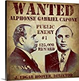"""Vintage Apple Collection Premium Thick-Wrap Canvas Wall Art Print entitled Al Capone Wanted Poster 16""""x16"""""""