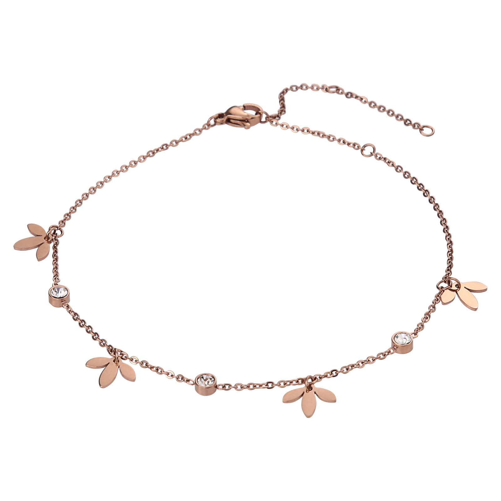 Beydodo Stainless Steel Ankle Bracelet Large Rose Gold Ankle Bracelet 11 inch Clover with Cubic Zircon