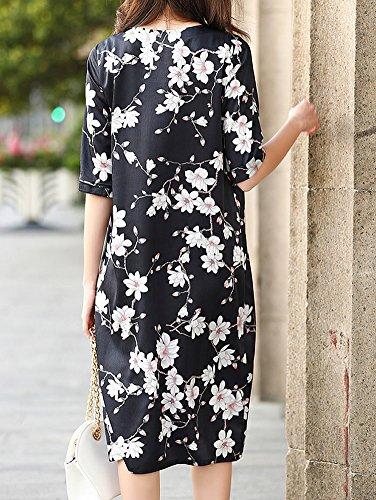 DISSA Gestreift Damen Long Schwarz Kleid Kleider S9987 Abendkleid Seide Cocktail Knee Übergröße RErSR5q
