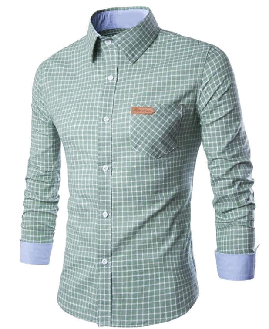 Comaba Mens Regular Fit Classic Plaid Dress Shirt Pockets