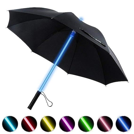 LED Paraguas Lightsaber Infantil Hombre Mujer, Luz para Arriba Paraguas de Golf con el Cambio de Color del Eje/Construido en la Antorcha en la Parte ...