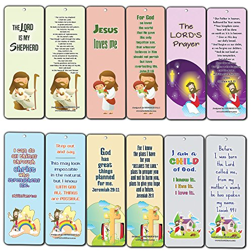 Christian Bookmarks Cards for Kids (60-Pack) - Scripture Bible Verses - Psalm 23 - Great Stocking Stuffers for Easter Baptism Thanksgiving Christmas Sunday School - Prayer Cards - War Room -