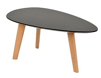 Ts Ideen Design Beistelltisch Oval Holz Schwarz Mdf Kaffeetisch