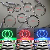 Qiuko 4pcs 60mm RGB Halo Rings Headlight Car Angel Eyes Motorcycle With 24 Keys Controller