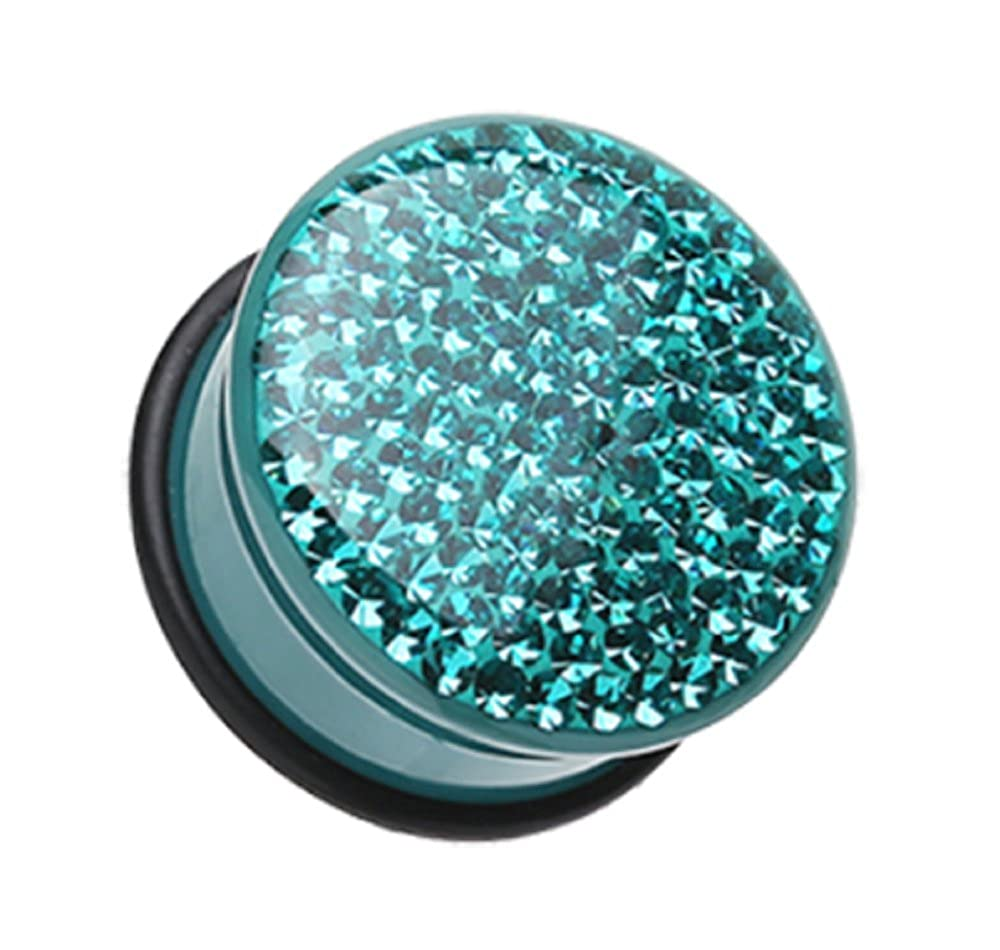 Sold by Pair Freedom Fashion Brilliant Sparkles Color Body Single Flared Ear Gauge Plug