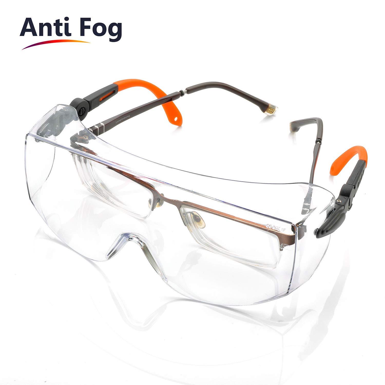 Gafas de Protección Antivaho Patillas Ajustables - Anteojos Gafas Protectoras Laboratorios con Cinta Ajustables SG009 y 10 x Mascarillas