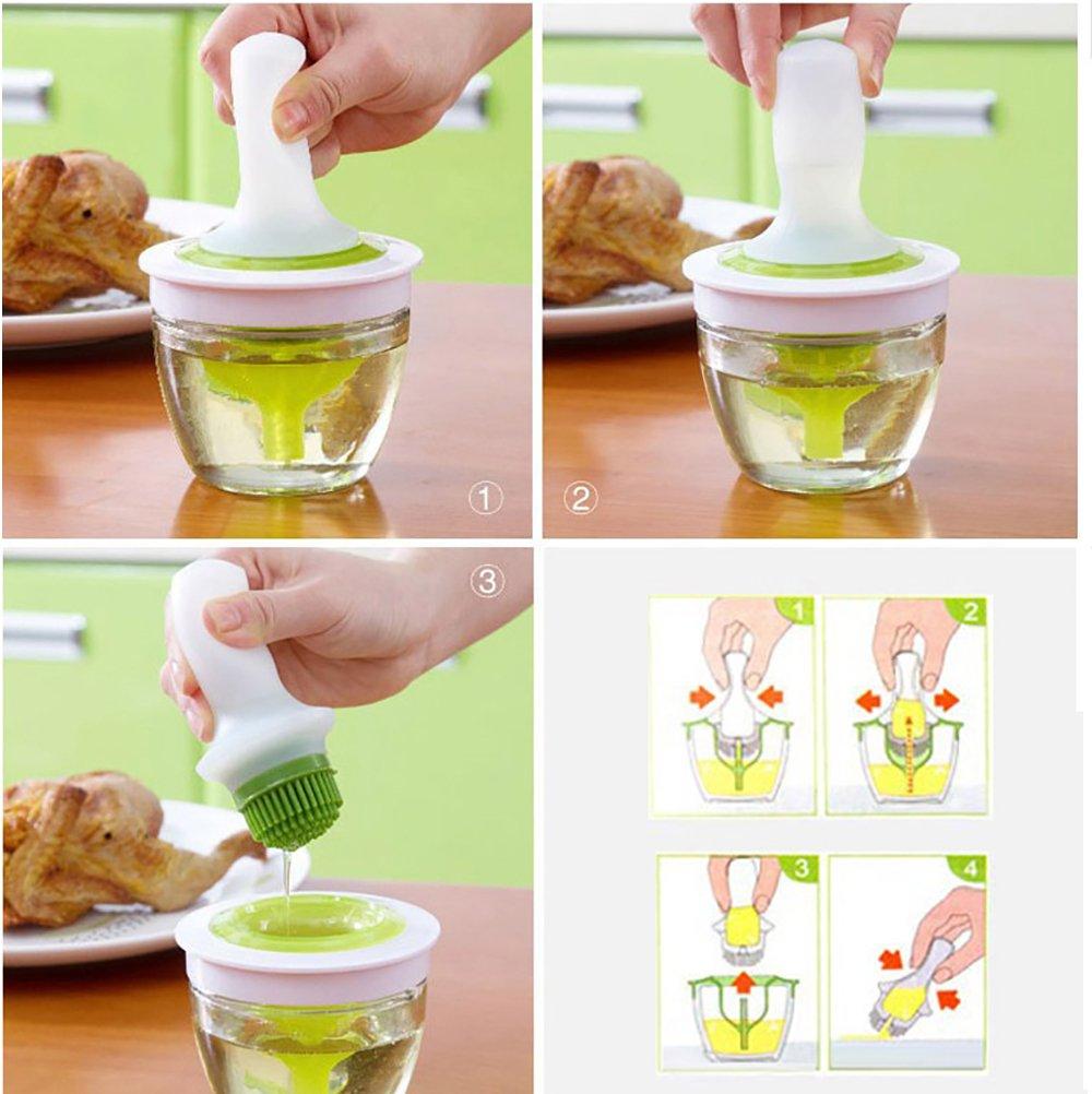 Silicone et pot en verre Pinceau /à badigeonner Bonapeti pour faire de la patisserie ou lors dun barbecue Finition haut de gamme Id/éal pour cuisiner