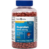 Amazon Basic Care Ibuprofen Tablets 200 mg, Pain Reliever/Fever Reducer (NSAID), 1000 Count