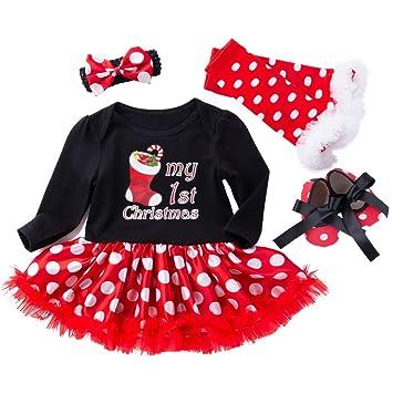 e164eefe19e0 Christmas Skirt Sets for Newborn Baby Girls My 1st Christmas Romper Tutu  Dress Leggings Pants Shoes