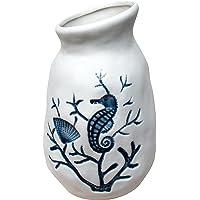 Blue and White Ceramic Vase 'Under The Sea' - 18.5 cm