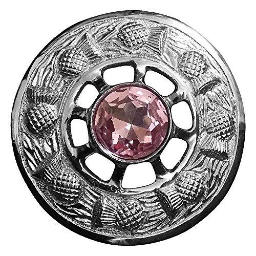 AAR Scottish Thistle Fly Plaid Brooch Pink Stone Chrome Finish 3