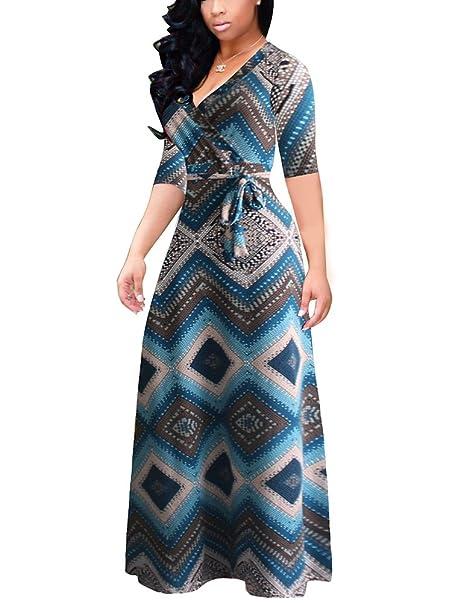 Mujeres Vestidos Tartán Elegante Largas Vestido Fiesta Cóctel Slim Bohemia Columpio Azul 2XL