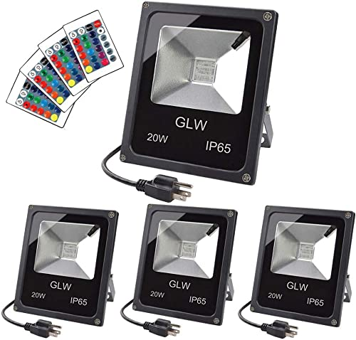 GLW 20W RGB LED Flood Lights,Color Changing Floodlight with Remote Control,Waterproof Outdoor Landscape Lighting,16 Colors 4 Mode Dimmable Wall Washer Light,Stage Lighting for Garden,Yard 4 Pack