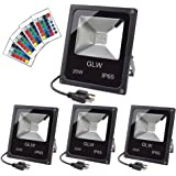 GLW 20W RGB LED Flood Lights,Color Changing Floodlight with Remote Control,Waterproof Outdoor Landscape Lighting,16…