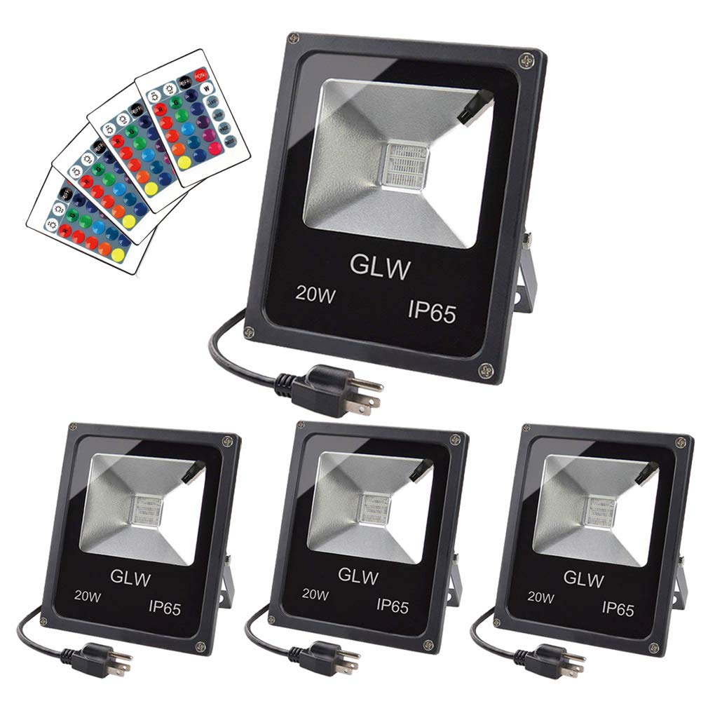 GLW LED RGB Flood Light 20W Remote Control IP65 Waterproof Outdoor Landscape Lighting 16 Colors Changing 4 Mode Security Light Tunable Wall Washer Light for Garden,Lawn,Yard (4 Pack)