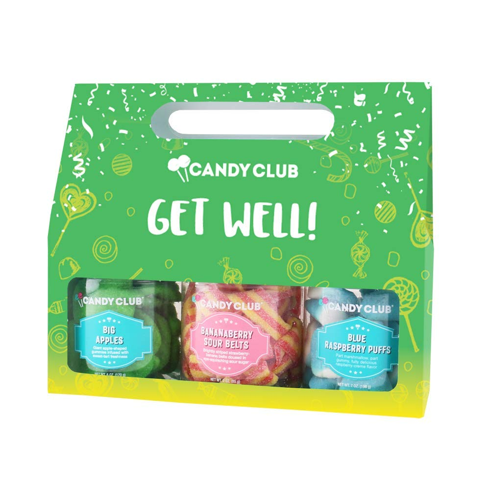 Candy Club, Get Well! Candies Gift Pack, 3 Jars Set - BananaBerry Sour Belts, Blue Raspberry Puffs, Big Apples