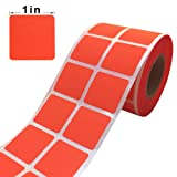 """Wootile 1"""" Inch Square Fluorescent Orange Red Color Coding Dot Labels - 1,000 Colored Square Stickers Per Roll"""