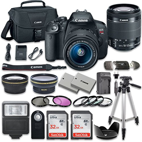 Canon EOS Rebel T5i 18.0 MP CMOS Digital Camera HD Video with Canon EF-S 18-55mm f/3.5-5.6 IS STM Lens + 2pc SanDisk 32GB Memory Cards + Accessory Kit from 33rd Street Camera