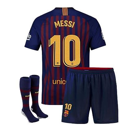 d599f2436 Eyibv Youth Messi Jersey 10 Barcelona Kids 2018-2019 Home Boys Soccer  Shorts Socks Sizes